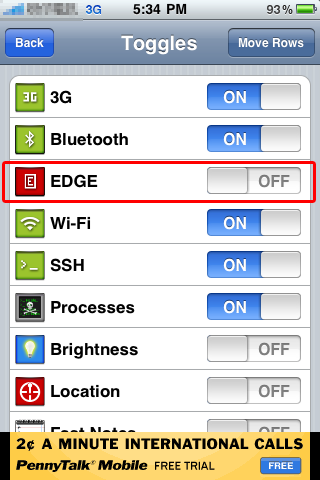 "Turn On ""EDGE"" toggle"