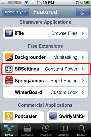 Cydia SBSettings